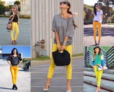 Що вдягти з жовтими джинсами