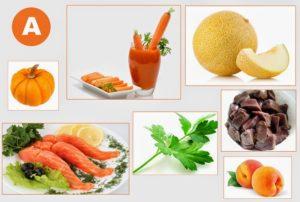 Найбільша концентрація вітаміну А в оліях, ядрах горіхів і гарбузі